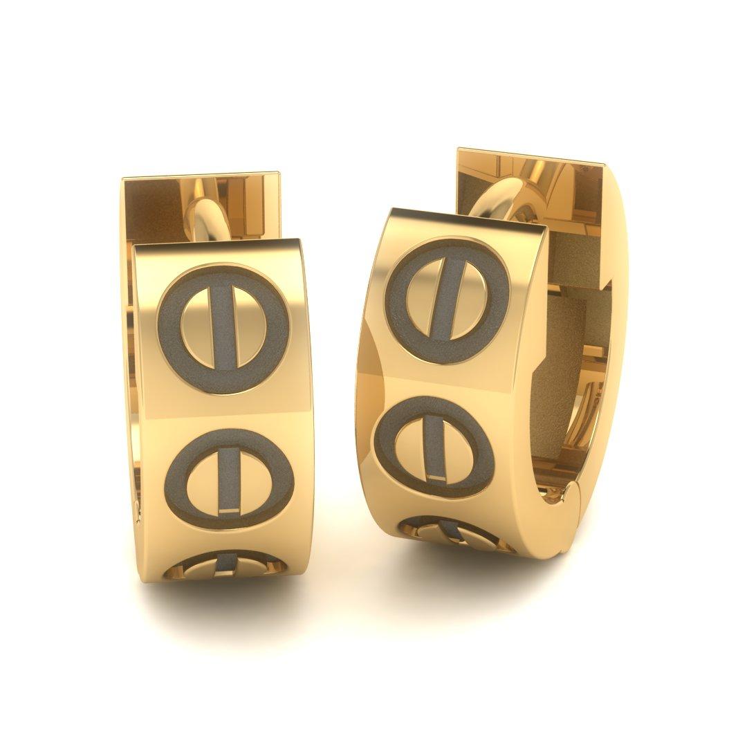 Золотые серьги с фальш-болтами