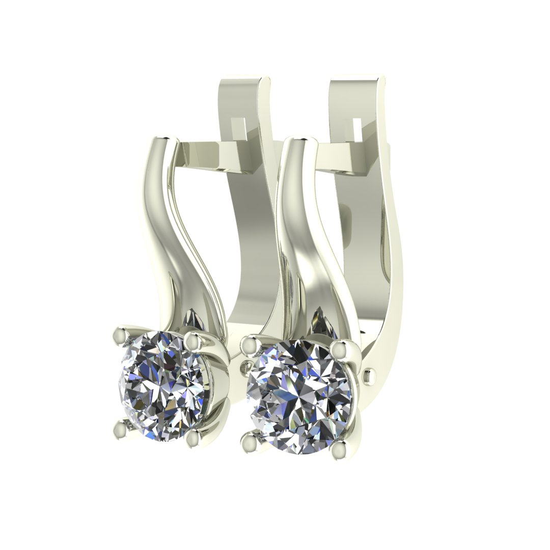 Серьги с бриллиантами в оправе