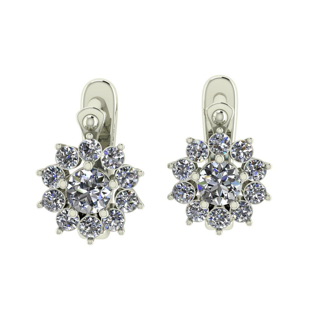 Серьги с бриллиантами в форме цветка