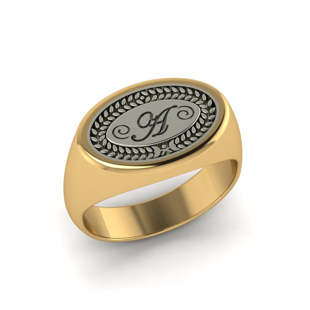 Кольцо-печатка с монограммой и лавровым венком