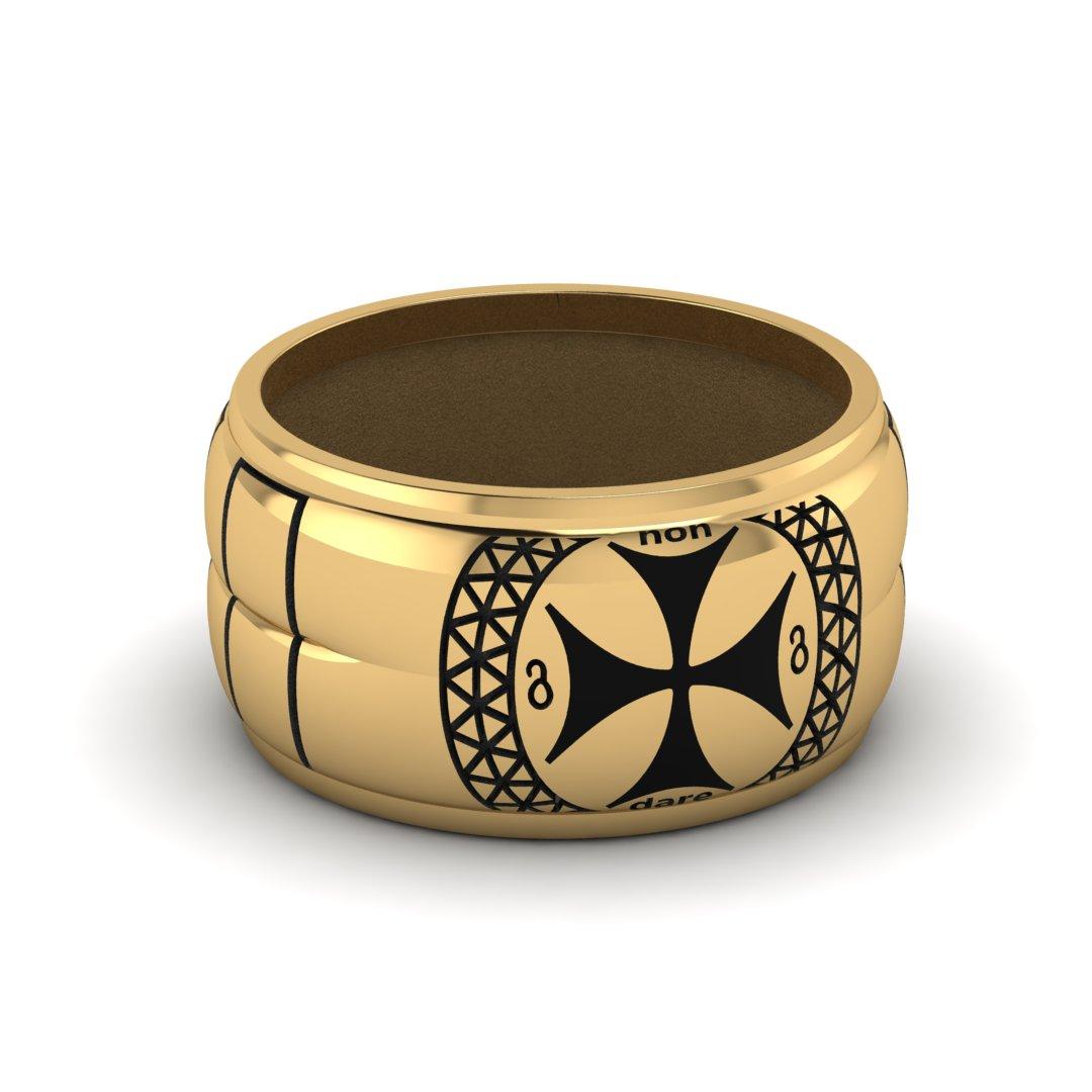 Мужское кольцо с обсидиановой вставкой