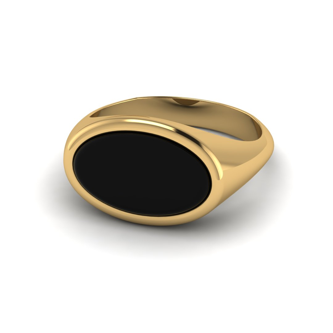 Мужское кольцо с черным агатом