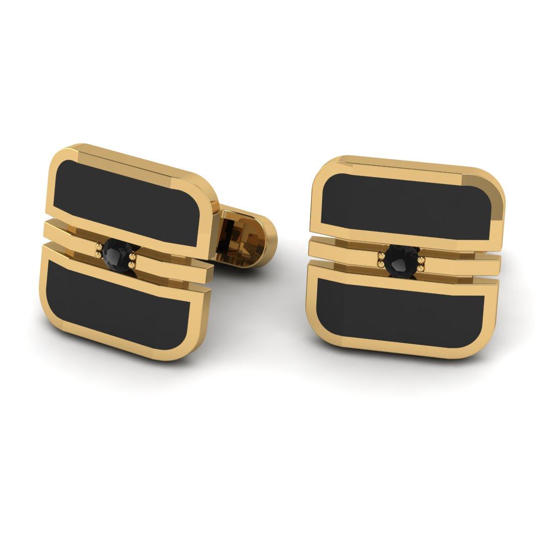 Золотые запонки с черной эмалью